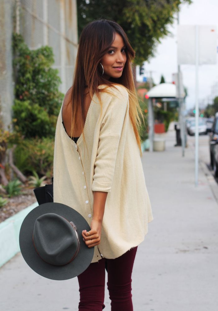 Love the fall outfit (oxblood jeans! felt brimmed gray hat!) and the hair! // Sincerely, Jules