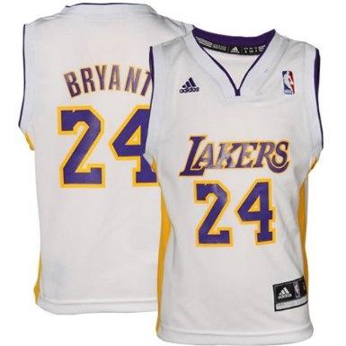 Amazon.com: Kobe Bryant Los Angeles Lakers WHITE NBA Kids Replica ...