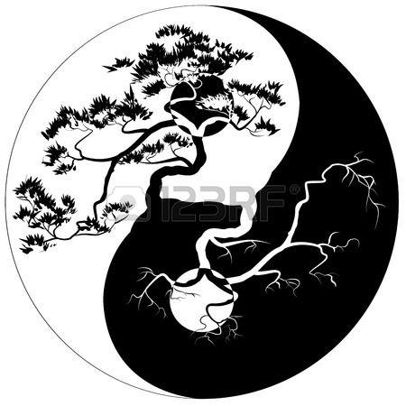 Bonsa noir et blanc sur le symbole Yin Yang Banque d'images
