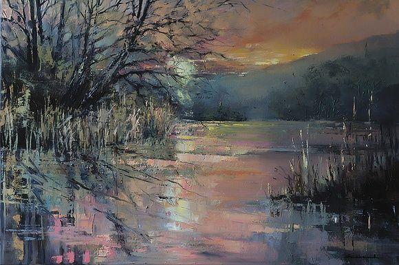 'April Sunset at Blashford Lakes' by Ewa Czarniecka   Artfinder