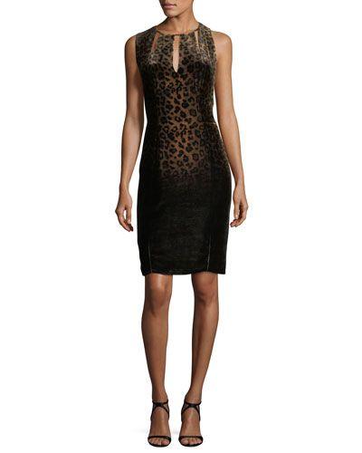 Jemra Sleeveless Leopard-Print Dress