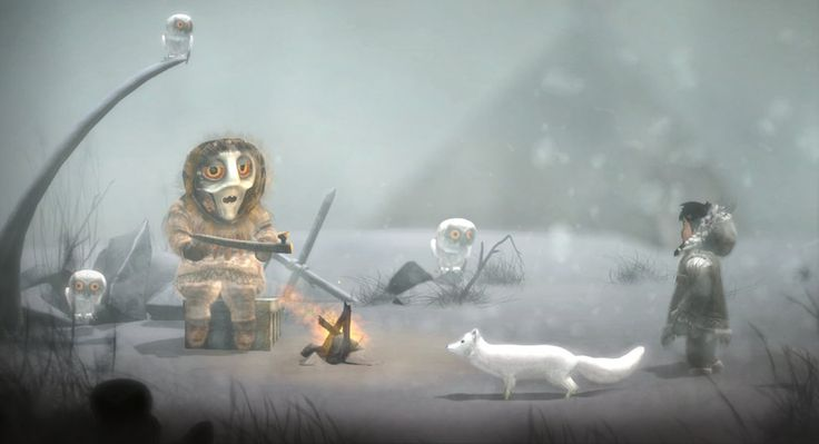 The story in Never Alone is based on a Native Alaskan legend about a quest to end a neverending blizzard.