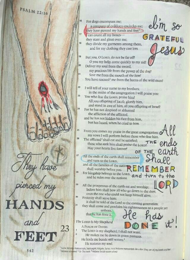 Psalm 22 prophesies Jesus' crucifixion and victory Bible art journaling by @peggythibodeau www.peggyart.com
