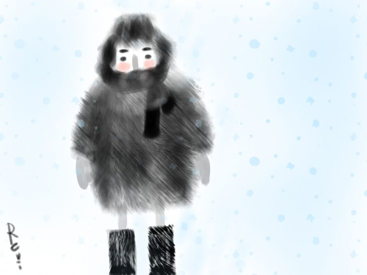 #drawing #boy #winter  Russian winters are cold. :)