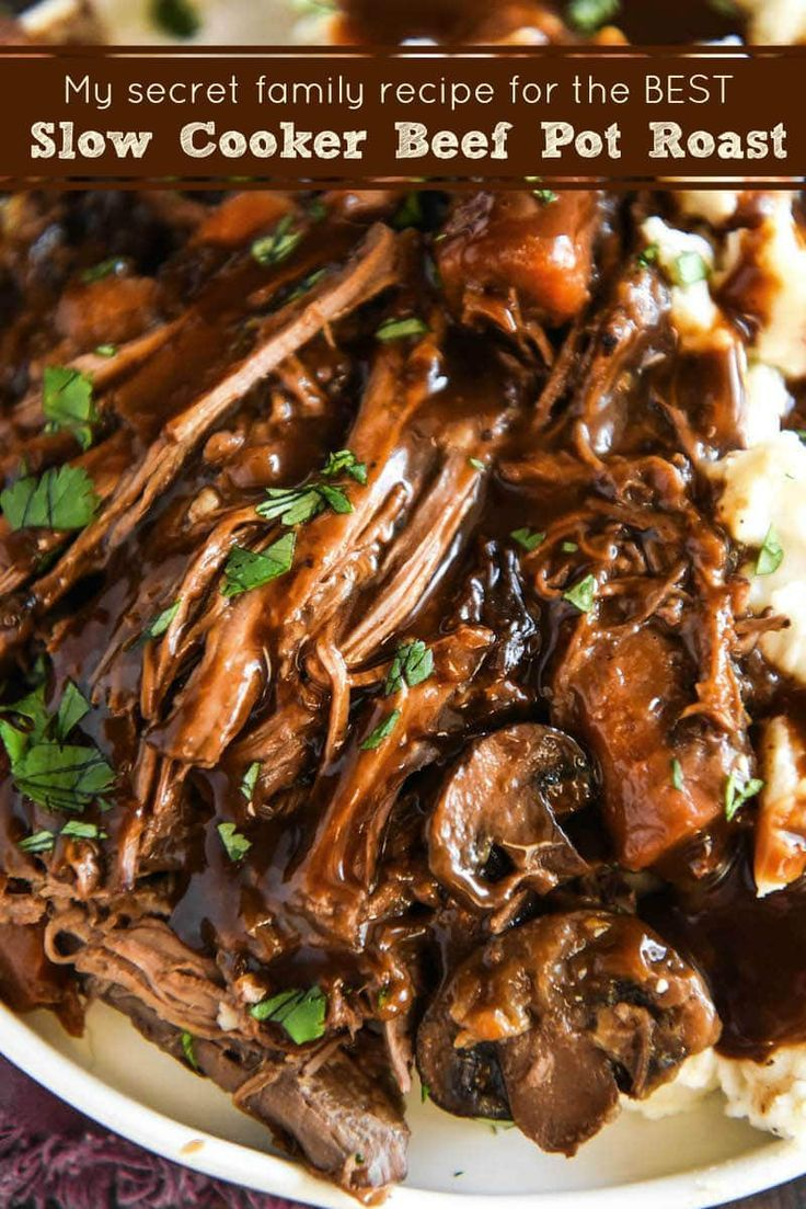 Slow Cooker Beef Pot Roast: a favorite secret family recipe for an extra flavorf…   – ++ All Recipe's ++