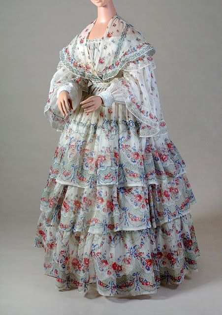 Mousseline cotton summer sheer dress, ca. 1853 | In the Swan's Shadow