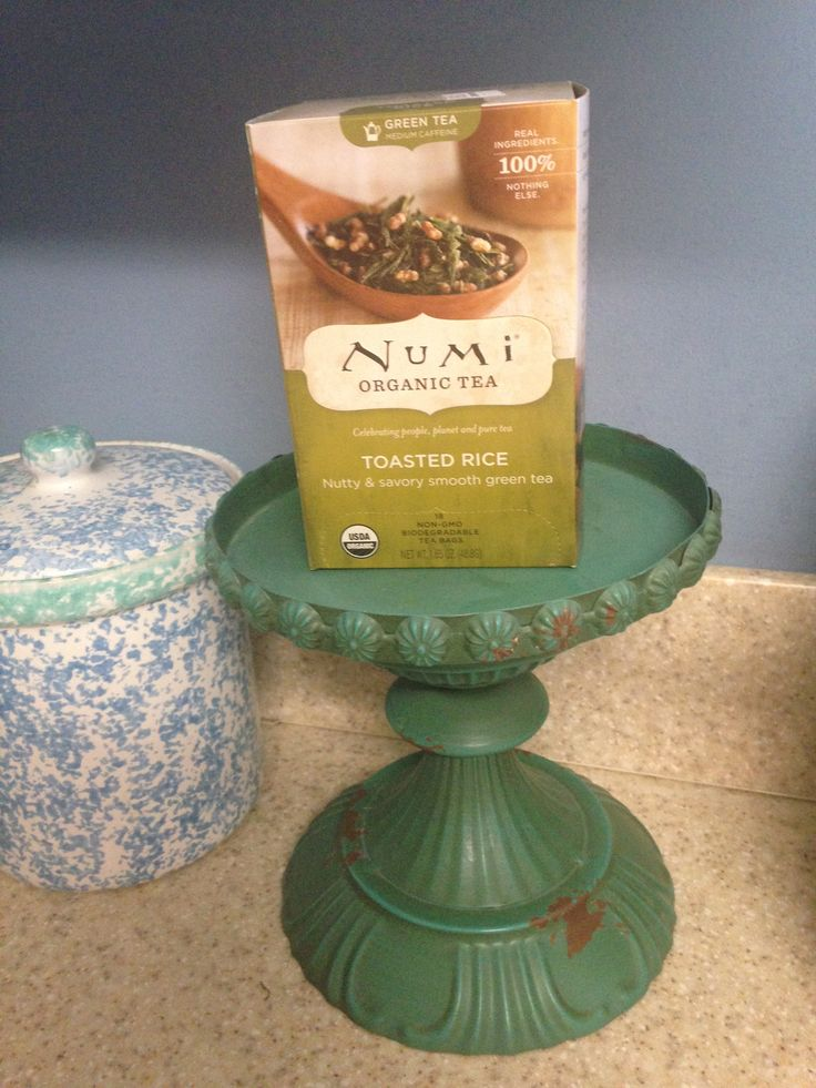 Numi  Organic Tea- Toasted Rice Green Tea. Sencha green tea with toasted rice gives this tea a nutty, savory taste that is subtle but smooth. A late morning or afternoon tea. A recipe is included with the tea.