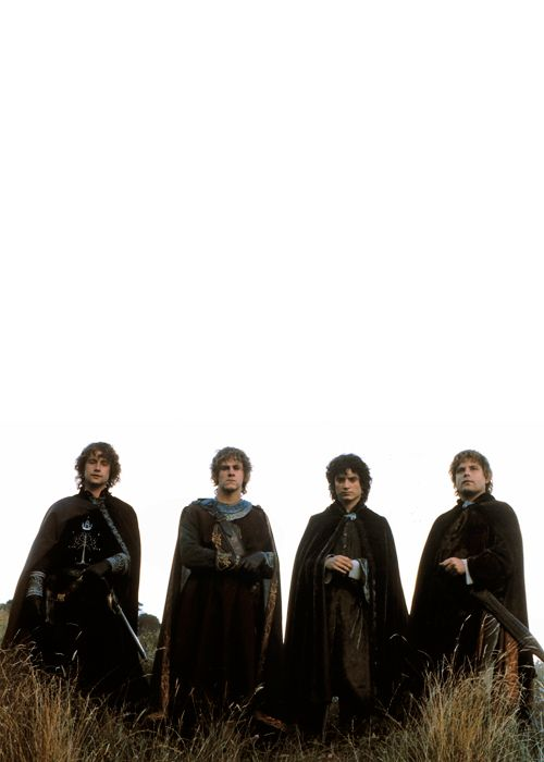 Los héroes de La Comarca: Peregrin Tuk, Meriadoc Brandigamo, Frodo Bolsón y Samsagaz Gamyi