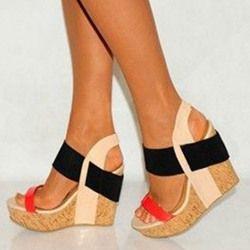 Sheospie Color Block Wooden Heel Wedge Sandals