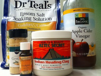 """I pinned this recipe a few days ago and had to try it! One Good Thing By Jilee's """"Ultimate Detox Bath"""" using apple cider vinegar, epsom salt, bentonite clay, essential oil, oh, and I added ground ginger... DIY-mania 