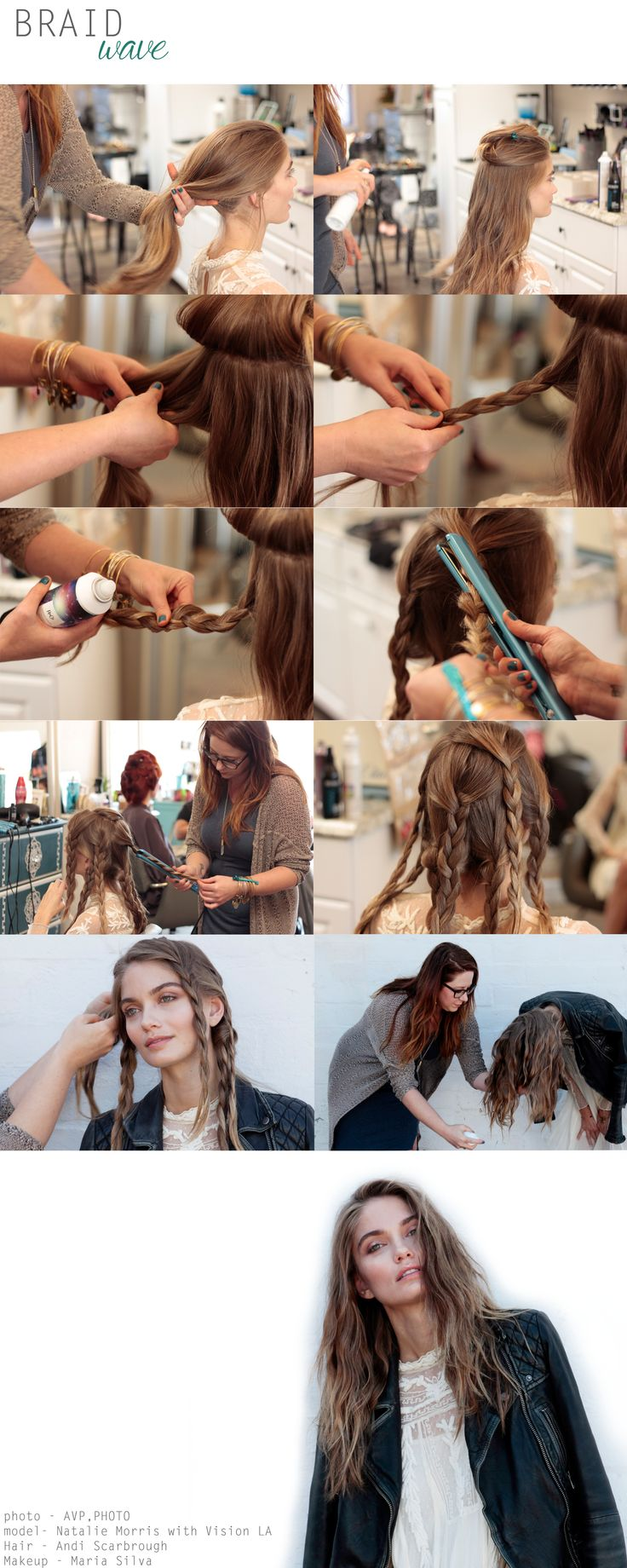 How-to for easy messy beachy waves using braids, texture spray and a flat iron. Skip the heat and sleep in these braids to wake up like a mermaid!