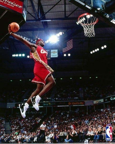 Lebron James, first NBA dunk.