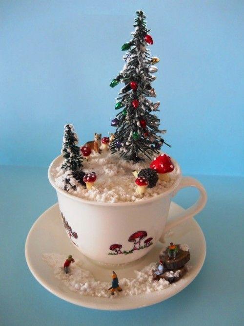 'Woodland Christmas' - #teacup #diorama #miniature - by Love Harriet @ www.lilyanddot.com.au