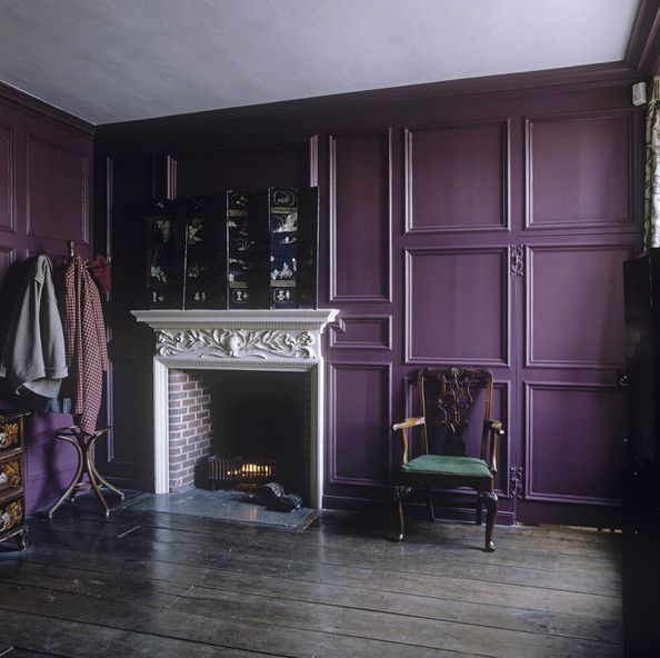 Purple Paneling: There's no escaping the royal colors in this corner nook. By painting a heavily molded wall in an elegant eggplant hue, the space manages to feel both warm and sophisticated. http://www3.pictures.lonny.com/lv/5vnCdNkJYWZl.jpg