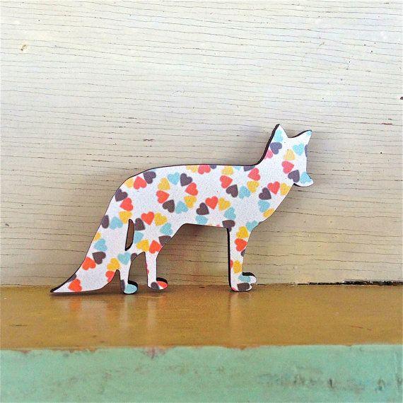 Winter Sun Fox Brooch  Paper Overlay Laser Cut Brooch by EachToOwn, $20.00
