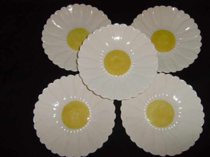 5 GIEN of FRANCE 9 Inch  Daisy  Plates   MINT in Pottery & Glass, Pottery & China, China & Dinnerware, Gien | eBay