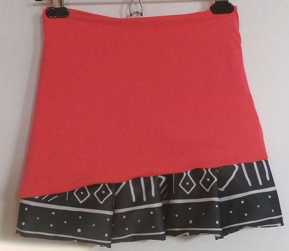 Neon coral tribal diagonal ruffle skirt / tennis / jogging / cute / girly / modern