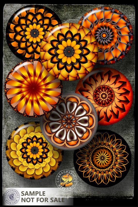 "Orange Kaleidoscope - Mandala - 2.625"" circles - Printable Digital Collage Sheets CG-585M for 2.25"" Pocket Mirrors, Buttons"