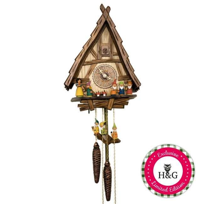 fairy tale clocks - The Snow White and the Seven Dwarfs cuckoo clock is one of several romantic and nostalgic fairy tale clocks that has popped up in the home decor ma...