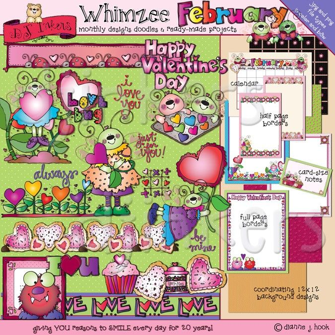 'February Whimzee' includes over 25 sweet Valentine designs, plus a calendar, 3 borders, 2 half pg borders, a note card & 4 background papers! There's so many project possibilities to make for your love bugs & sweethearts.