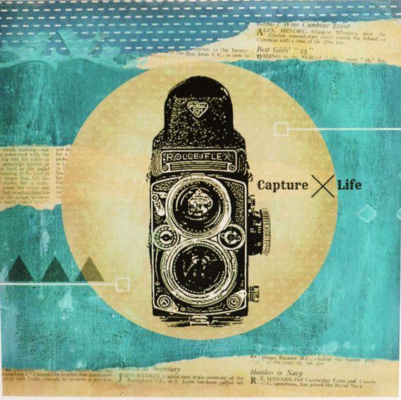 Vintage camera art print mixed media art wood by SharelCilliers
