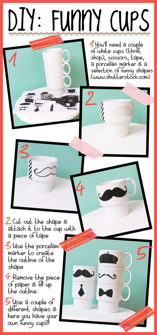 DIY funny cups. The combinations are hillarious!