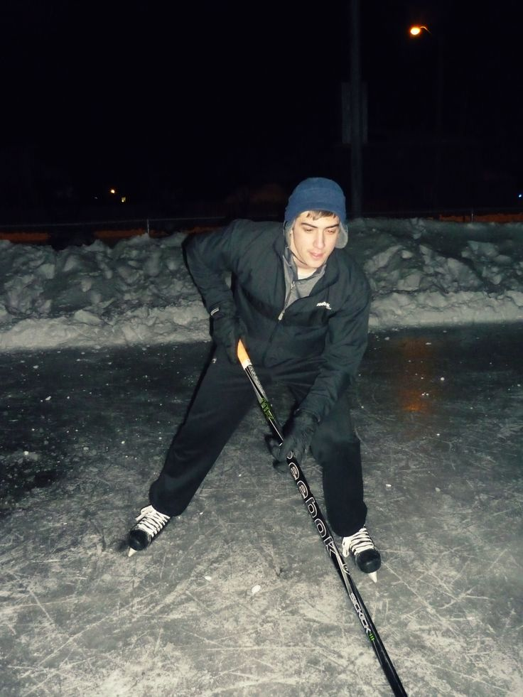 Canadian Hockey Player on Outdoor Rink