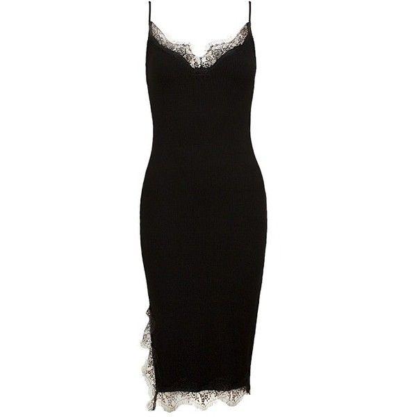 Eyelash Lace Trim Midi Dress Sans Souci ($39) ❤ liked on Polyvore featuring dresses, midi day dresses, midi dress, mid calf dresses, lace trim dress and calf length dresses