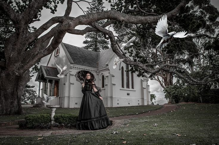 Fantasy Gothic Victorian Black Silk Dupion Ball Gown Black lace umbrella Photographer: Vanessa Wood from Suede Studios http://www.suedestudios.co.nz/.  Model, Hair & Makeup: Alyssia Atonio.  Styling: Vanessa Wood & Vanessa Burton Designer: V J Burton Gowns