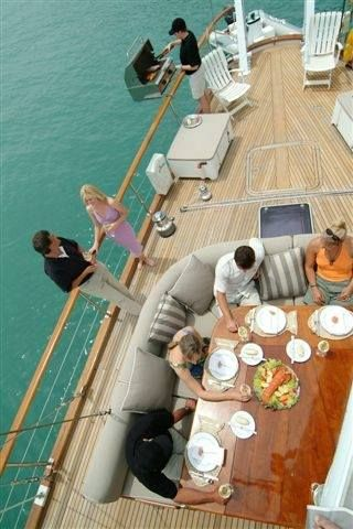 Relaxed lunch on-board Yonder Star, a luxuriously appointed 87' sailing yacht based in the Abel Tasman
