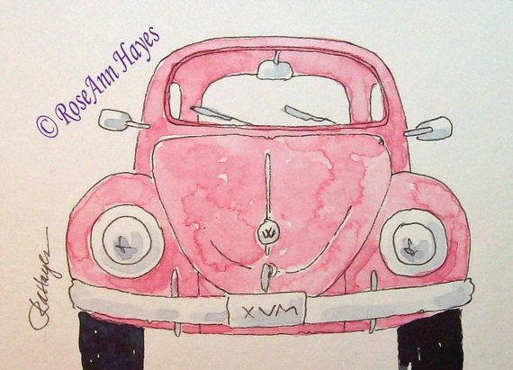 Pink VW Beetle Bug Print of Watercolor Painting ACEO available in my Etsy shop