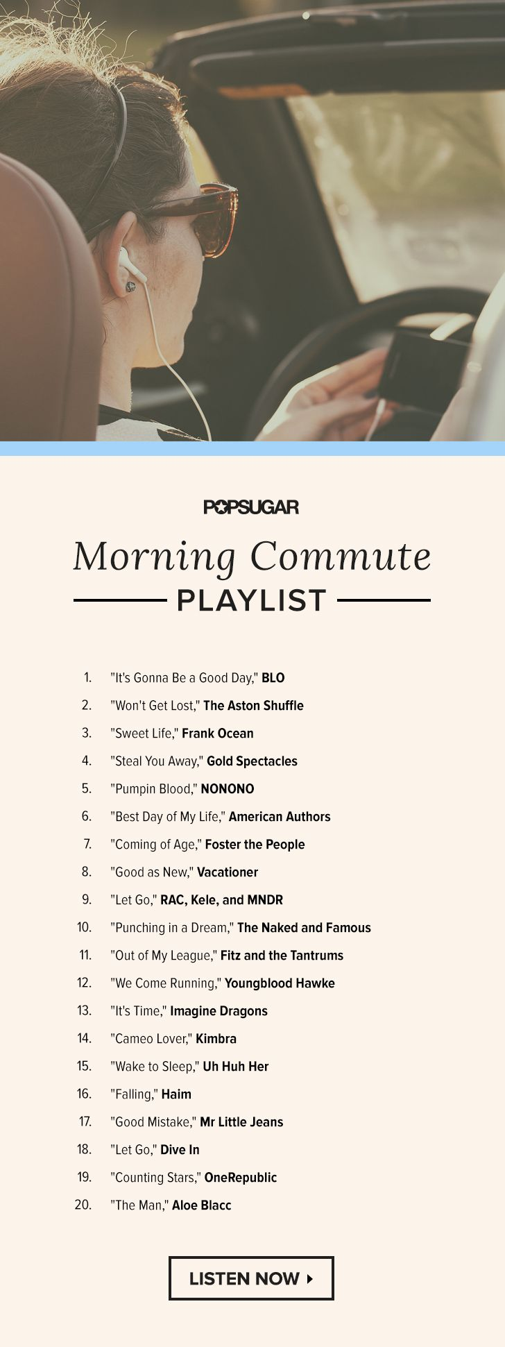 Sometimes the worst part about work is actually getting there, especially on Mondays. Start your day off right with these 20 songs, and we promise you won't even think about hitting snooze.