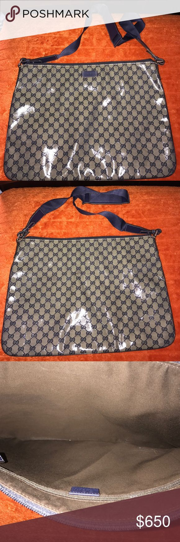 Large Gucci messenger bag Bag is brand new carried once! 12 inches in length and 18 inches in width. Navy blue. No dust bag at this time. Currently cleaning out my closets. If I come across the dust bag I will pay for shipping and send it separately. Gucci Bags Crossbody Bags