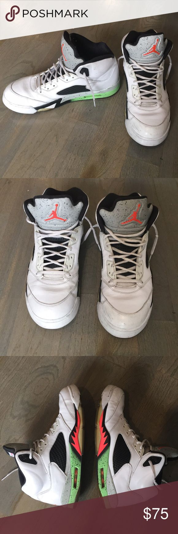 """Men's Jordan 5 """"Pro Stars"""" (size 13) Men's Jordan 5s. Used, see pics for condition. Bottoms will be cleaned before I send out. I bought these from someone else and they don't fit me as well. I was told they were touched up before by the toe box to cover up scuffs. Still look great! I don't have the box or lace locks. Air Jordan Shoes"""