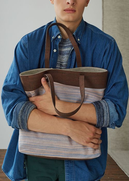 Squeeze me with the Catherine Dang beech tote bag made from Ikat fabric & cork textile.