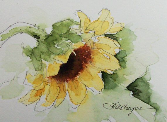 Sunflower Original Watercolor Painting ACEO by RoseAnnHayes, $20.00