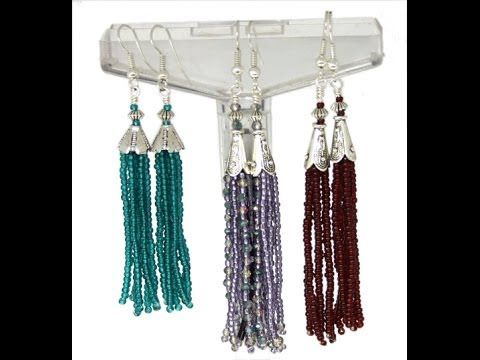 Beaded Hoop Earrings with Swarovski bicones Beading Tutorial by HoneyBeads (Photo tutorial) - YouTube