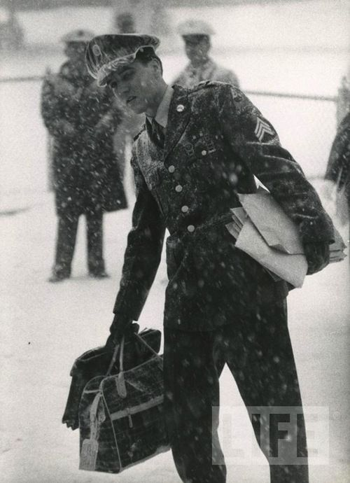 Elvis Presley returns home after Army service in Germany, 1960...