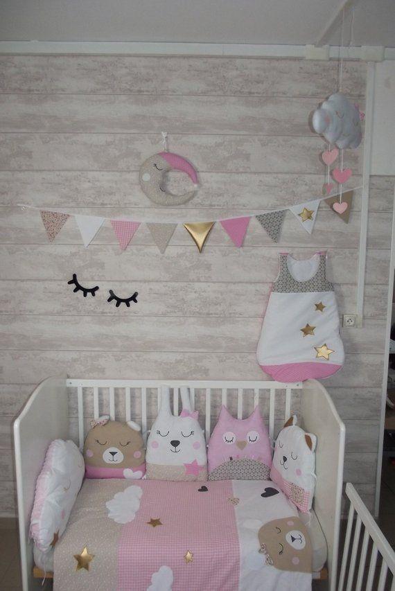 Tour de lit bébé fille nuage, princesse, animaux, hibou ...