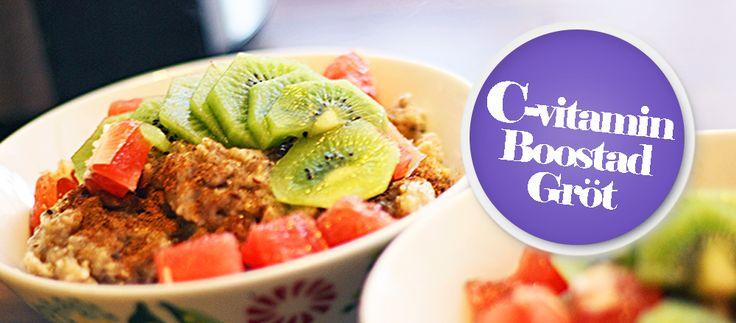 Gröt recept med c-vitamin boost. Kiwi och grapefrukt stärker ditt immunförsvar och detta gröt recept innehåller massor av kanel som ökar ämnesomsättningen!
