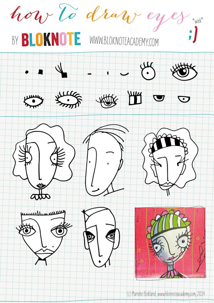 Bloknote | Blognotes by Marieke Blokland: How to draw eyes www.bloknoteacademy.com