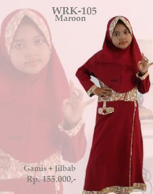Baju Gamis Anak Perempuan WRK-101 Maroon