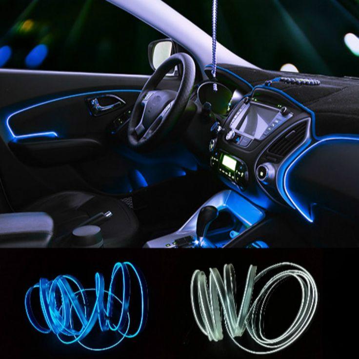 Universal de 2.3mm 3 M 10 Colores Car Styling Flexible de Neón EL Cable de luz Tira de La Decoración Del Coche con el Controlador Libre gratis