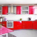 bright color red kitchen