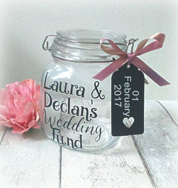 Wedding Fund Jar Engagement Gift Decor By Handmadebydebmac