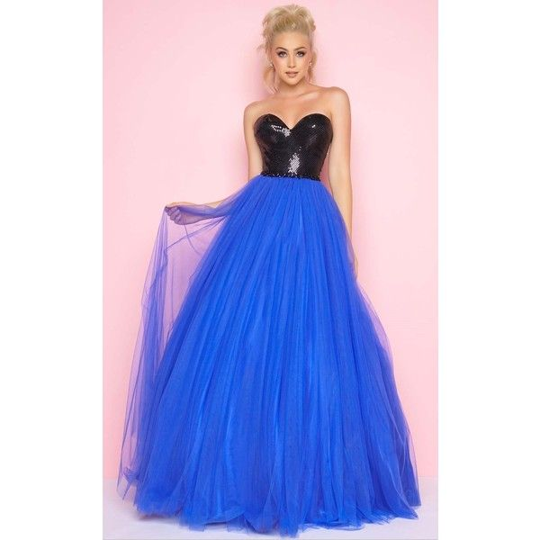 Mac Duggal 65530 Prom Dress 2017 Long Strapless Sleeveless (£270) ❤ liked on Polyvore featuring dresses, gowns, electric blue, formal dresses, royal blue evening gown, long evening gowns, prom dresses, formal gowns and long prom dresses