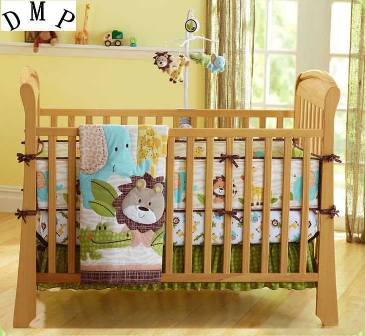 Promotion! 7PCS embroidered Baby Crib Cot Bedding Set Quilt for newborn baby girl boy, include(bumper+duvet+bed cover+bed skirt) #Affiliate