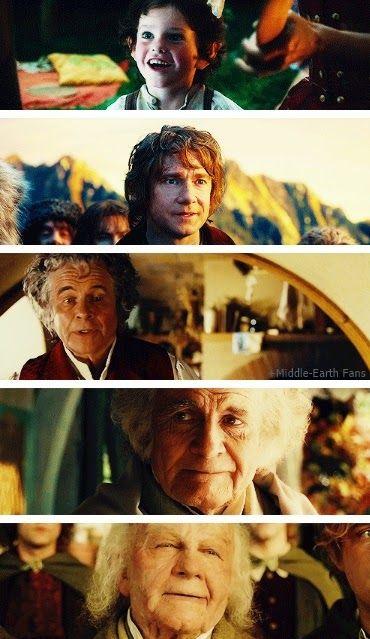 Bilbo Baggins through the years.