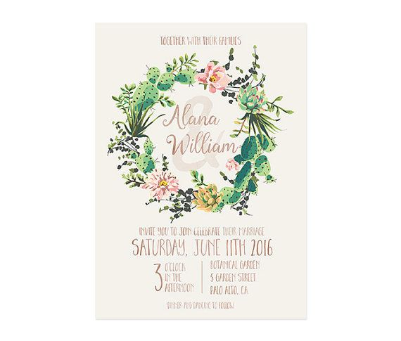 Invitaci n de la boda de cactus suculentas boda invita for Boda en jardin botanico