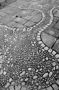 "Love the whimsy of this stone path - both swirly and ""serious"" straight elements"